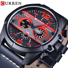 CURREN Sport Racing Black Red Dial Creative Big Brand Dial Mens Watch Top Luxury Quartz Military Sport Wrist Watches Male Hour weide male clock men sport watch black nylon strap black dial quartz movement analog round outdoor buckle wrist watches military