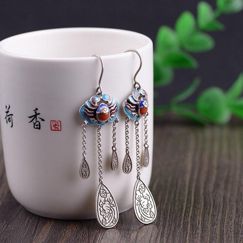 S925 argent reconstituant des manières antiques pour les femmes traditionnel antique bleuissement compétence ensemble sud rouge gland boucles d'oreilles en gros
