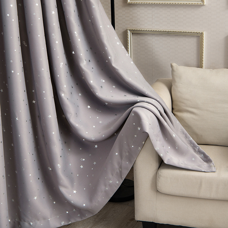 Gray Cloth With Silver Star Curtains Brwon Stars Blackout Curtain For Kids Bedroom