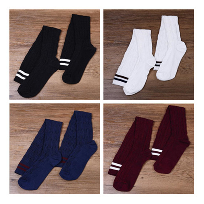Japanese Cotton Over The Knee Two Bars Twist Vertical Stripes High Socks Was Thin Over The Knee Socks College Wind Wild Socks