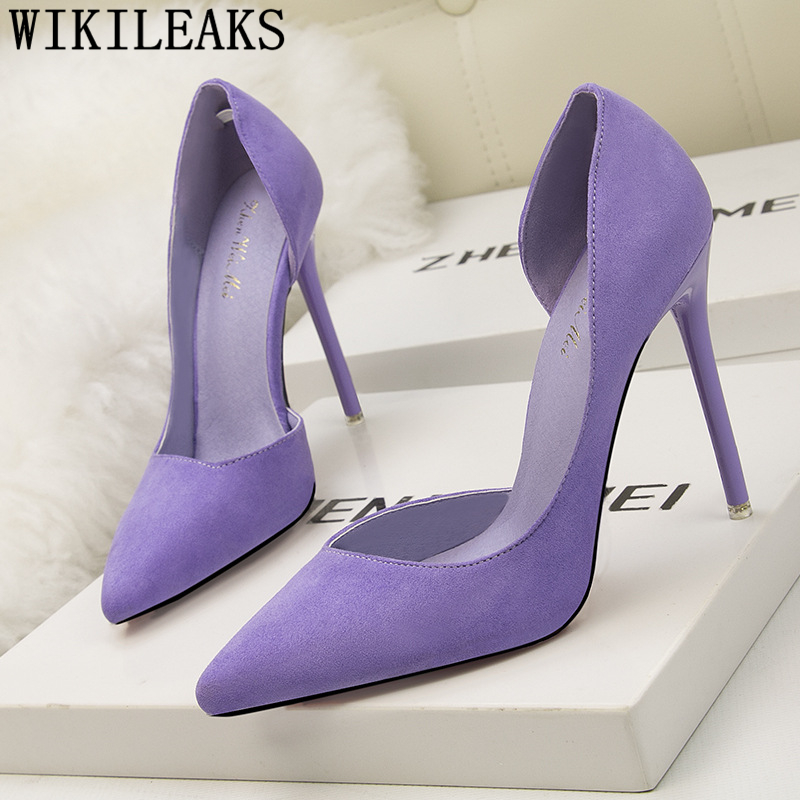 Wedding Shoes Bride Extreme High Heels Party Shoes Pointed Toe High Heels Stiletto Pumps Women Shoes Purple Heels Dames Schoenen