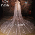 Real Pictures One Layer 3M White/Ivory Flowers Long Bridal Veils Cathedral Wedding Veil With Pearls Voile Mariage WB40