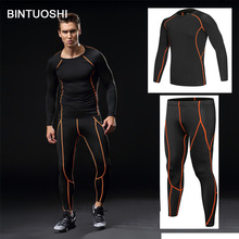 BINTUOSHI Men Underwear Sets Compression Sweat Quick Drying Gym Fitness Long Sleeve Shirt With Pants