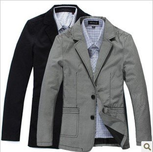 Black cotton casual blazer male blazer men's small suit jacket-in ...