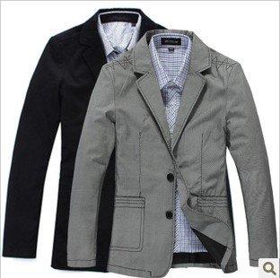 Black cotton casual blazer male blazer men's small suit jacket-in ...