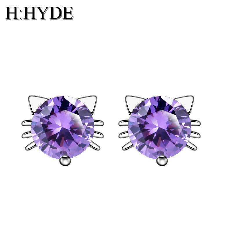 H:HYDE Fashion Silver Jewelry For Women Cute Animal Cubic Zircon Cat Earring Stud Small Stud Earring For Girls Wholesale