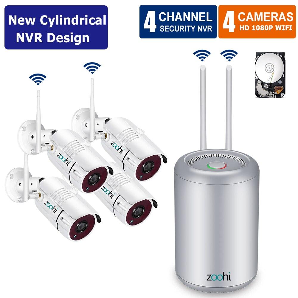Zoohi 4CH 1080 P Wi-fi Sistema de Câmera de Segurança Ao Ar Livre À Prova D' Água Câmera Sem Fio Night Vision Video Surveillance Camera Kit P2P