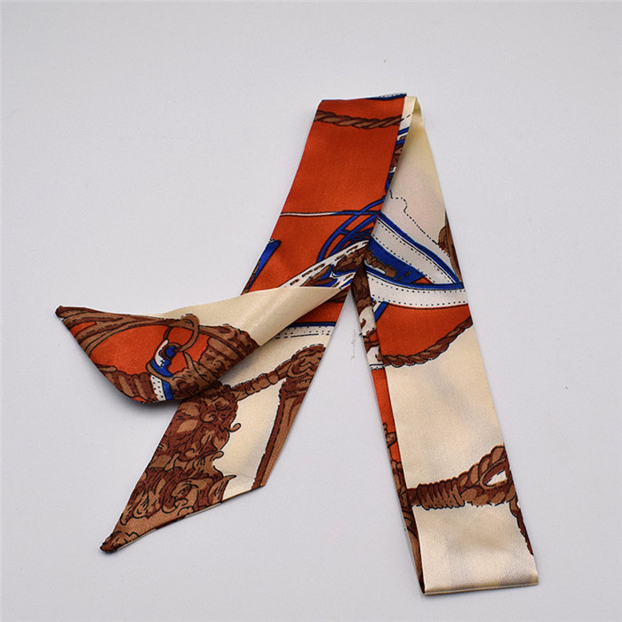 HTB1jnMPdlWD3KVjSZFsq6AqkpXaE - Small Silk Scarf For Women New Print Handle Bag Ribbons Brand Fashion Head Scarf Small Long Skinny Scarves Wholesale