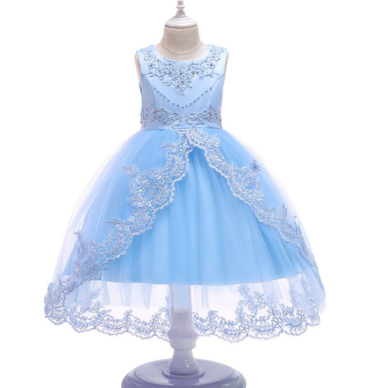 Flower Girls dresses Baby Beaded Rhinestone Lace Tulle Princess Tutu Dress Embroidered Kids Ball Gown Pageant Wedding Dress