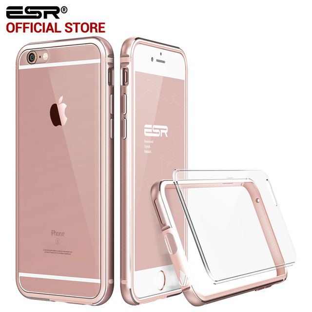 buy popular 2d76e 9675b Case Bumper for 6s 6 Plus, ESR Hybrid case Fluencia Hard Clear Back Cover  Absorbent Aluminum Frame case for 6 6sP-in Phone Bags & Cases from Phones &  ...