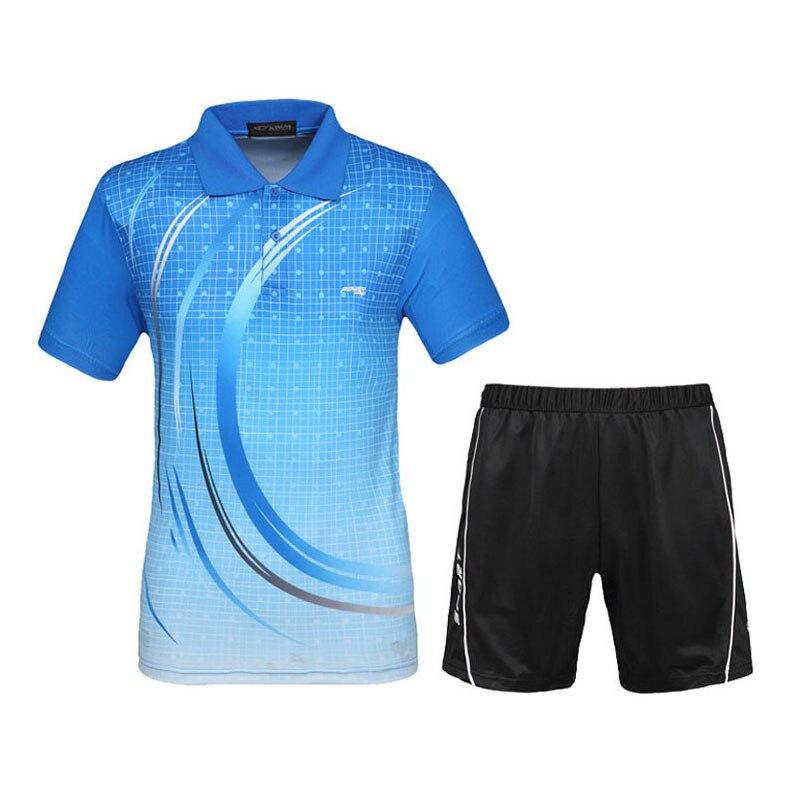 Hommes Tennis Chemises Ensembles 2017 Nouveau Design Sport Costume Short Maillots Respirant Séchage Rapide Badminton Table Tennis de Sport