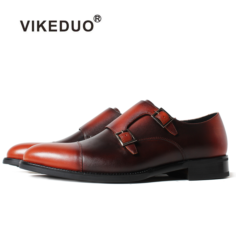 Vikeduo 2018 Handmade Brown Fashion Luxury Wedding Brand Male Shoe Genuine Leather Mens Formal Patina Dress Shoes Vintage Sapato