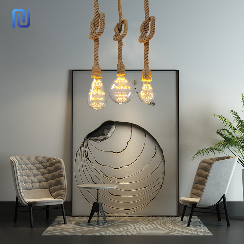 Vintage Hemp Rope Pendant Light Holder 1M 1.5M 2M 3M AC265V E27 Loft Creative Personality Industrial Pendant Lamp Base Decorate