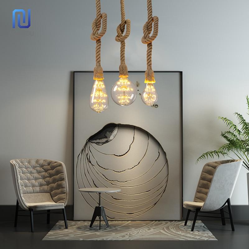 Vintage Hemp Rope Pendant Light Holder 1M 1.5M 2M 3M AC265V E27 Loft Creative Personality Industrial Pendant Lamp Base Decorate