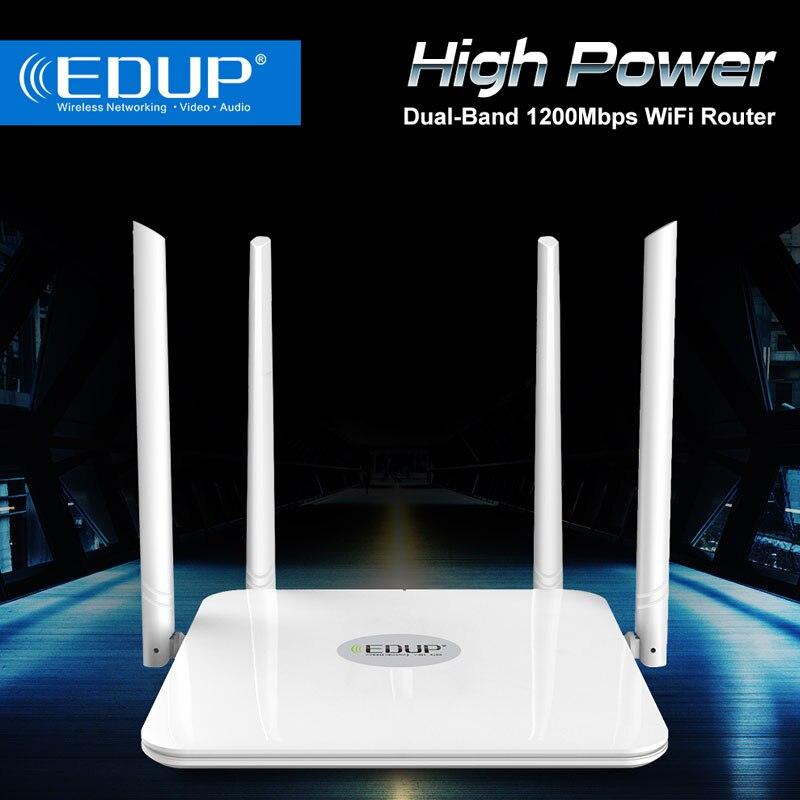 Routeur wifi sans fil EDUP 1200 mbps double bande 2.4 + 5 ghz 1 WAN + 4 ports LAN Gigabit répéteur wifi WIFI-802.11AC d'extension de gamme wifi