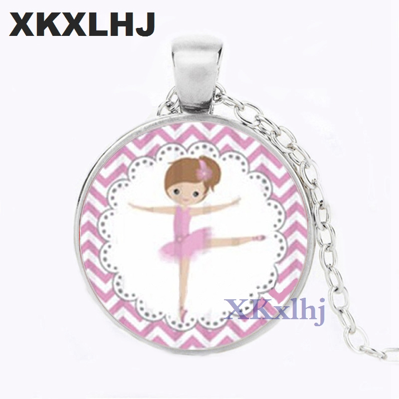 XKXLHJ New Ballerina Girl Necklace Handmade Glass Cabochon Dancing Girl Chain Pendant Necklace for Women
