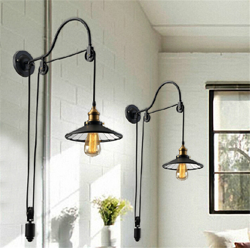 L20-Loft Vintage Wall Lamp Fashion Antique Lighting American Style Lift Retractable Pulley wall sconce Lighting for Aisle Stairs american country antique wooden dining room bedroom wall lamp simple aisle stairs lighting