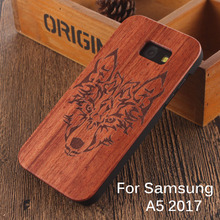 For Samsung Galaxy A5 2017 Wooden case Chinese dragon Fighting Wolf Eagle Godfather Cross Natural Carved Pattern Phone Covers