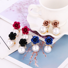 Bohopan 4Color Flower Simulated Pearl Earrings for Women Shine Crystal Female Dangle Elegant Fashion Drop 2019
