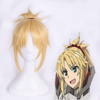 FGO Fate Apocrypha Cosplay Wig Servant Saber Mordred Blonde Pigtail Synthetic Hair for Adult