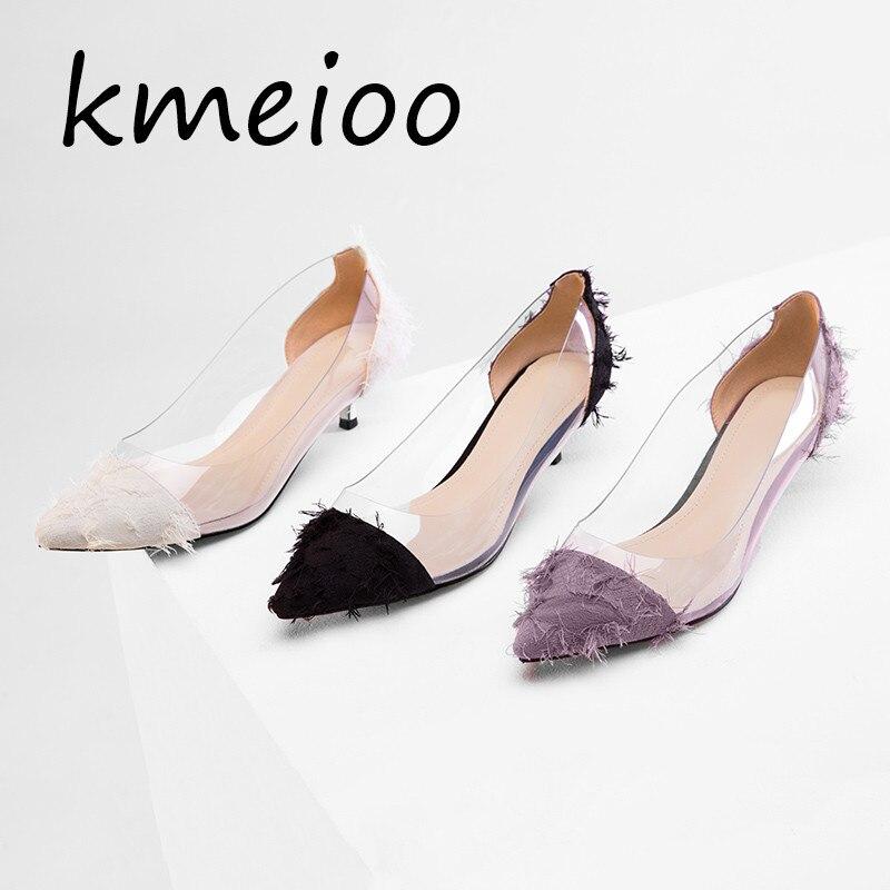 Clair PVC Transparent pompes sandales Perspex talon talons aiguilles pointe orteils femmes parti chaussures discothèque pompe