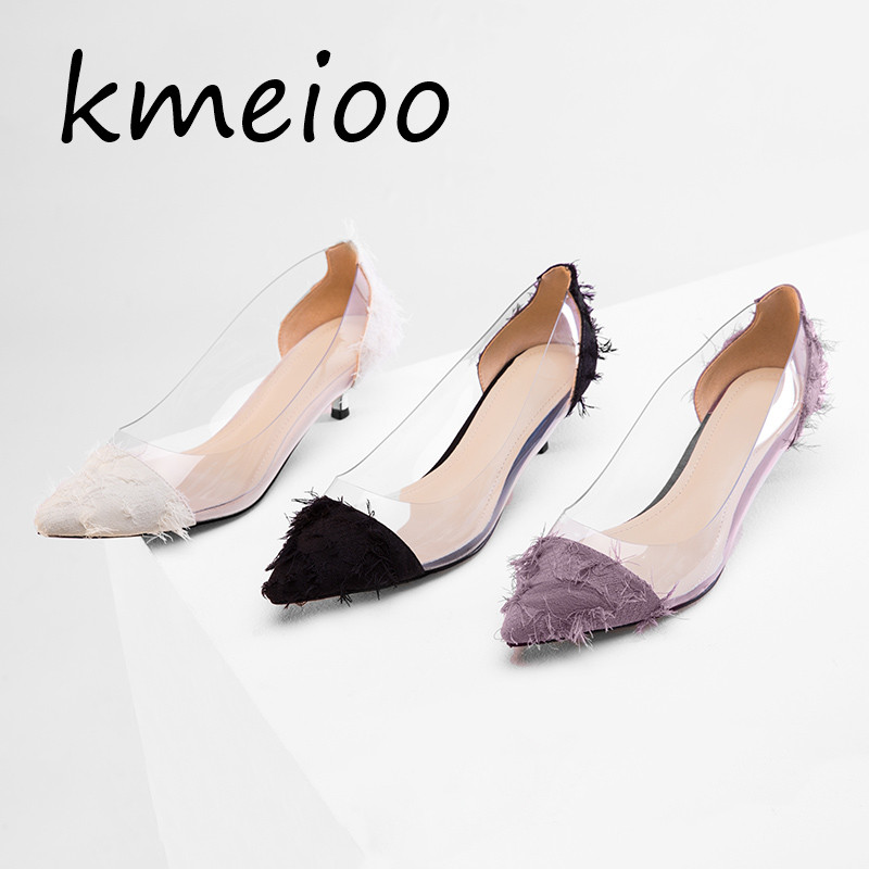 white Pompes Plexiglas Parti Chaussures Transparent Pvc Discothèque Stilettos Orteils Sandales Talons purple Point Femmes Black Pompe Talon SpUzVM