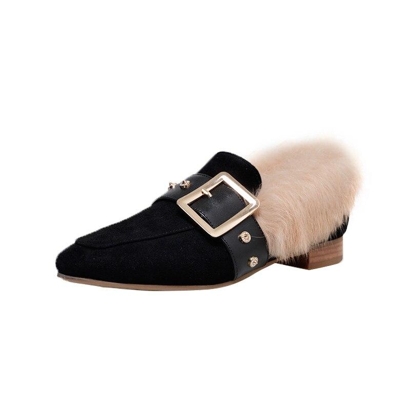 Chaussures Top Femmes Sur Powder Confortable Automne Carré Bottes Bout Glissement Root 2018 Talons Pompes La lotus Femme Qualité Hiver Morazora Noir Bas Mode p5w7nX4qI