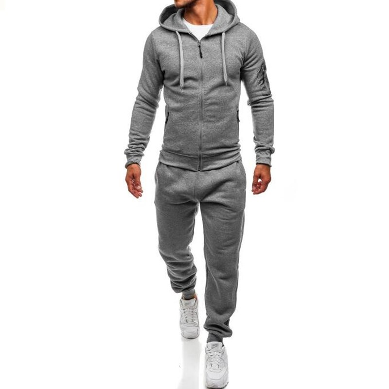 Men Sportswear 2 Pieces Set Fashion Warm Tracksuit Sweatser+Sweatpants Sporting Zipper Suit Mens Clothing Slim Fit Sets