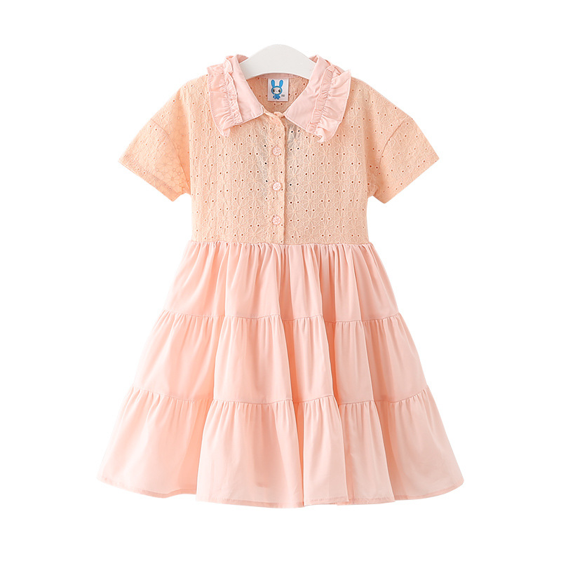 2017 Hot-Sale Korean Clothing Store Girls Cotton Lace Princess Beach Patchwork Dress For Party And Wedding Kids Dresses children dress winter korean girls princess gold lace dress cotton kids clothing flowers hollow mesh