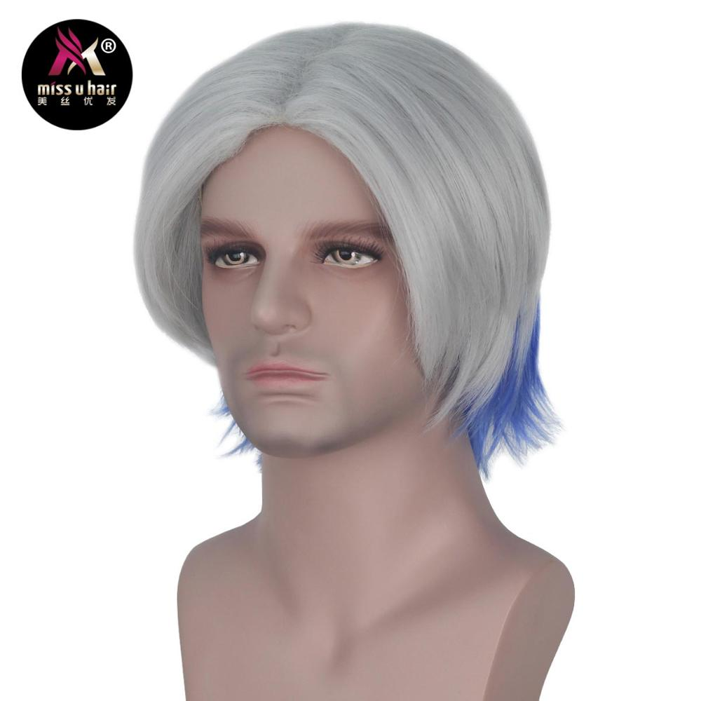 Miss U Hair Synthetic Short Straight Hair Gray and Blue Color Halloween Movie Cosplay Wig