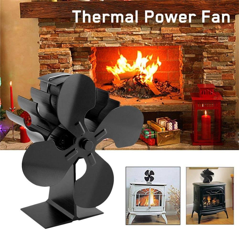 Log Burner Stove Fan 4-Blade Fireplace Fan Upgrade Heat Powered Stove Fan Low Energy Consumption Powered Wood Fan Automatic free shipping cheap heat powered stove fan in black gold silver coppery blade