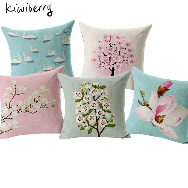 Retro Fresh Painted Magnolia Linen Cotton Cushion Plum Home Decor Pillow Decoraiive Sofa Throw Pillows 7