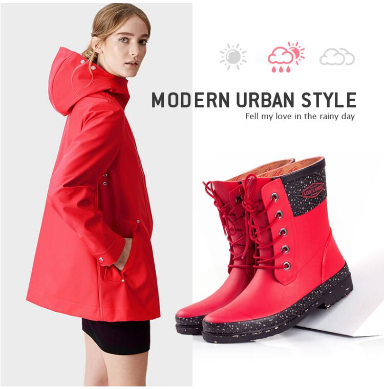 womens fashion lace up rain boots red and black mid-calf rubber waterproof rainboots for women laconic women s mid calf boots with lace up and chunky heel design