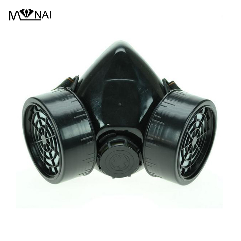 Steampunk Black Cyber Respirator 2 Canisters 1 Valve Rave Steam Punk Cos play Industrial Masks