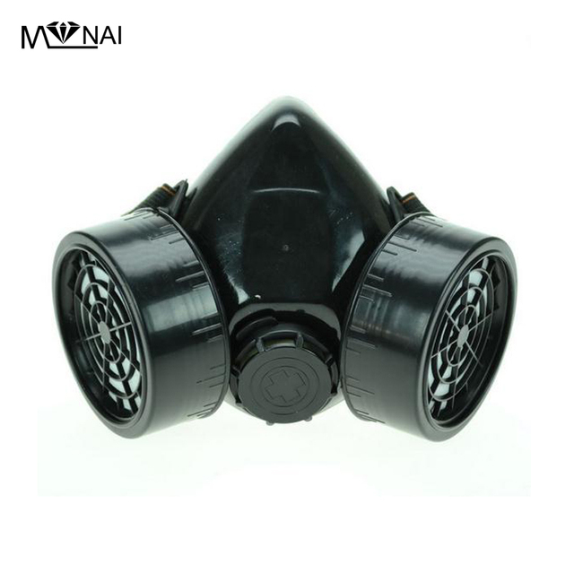 Steampunk Black Respirator 2 Canisters 1 Valve Rave Steam Punk Cos play Industrial Masks