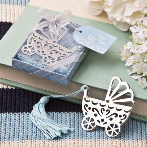 Free Shipping Blue/Pink Baby Carriage Bookmark Wedding Favors And Gifts Birthday Party Baby Shower Favor Gifts Girl Boy