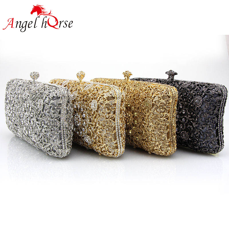 Angel Horse Women Clutch Bag Metal Hollow Out Evening Handbags Diamonds Fashion Day Clutch Bags Gold Flower Female Party Purse luxury female floral clutch bag women handbag diamonds crystal handbags hollow out party evening handbag ladies day cluthes