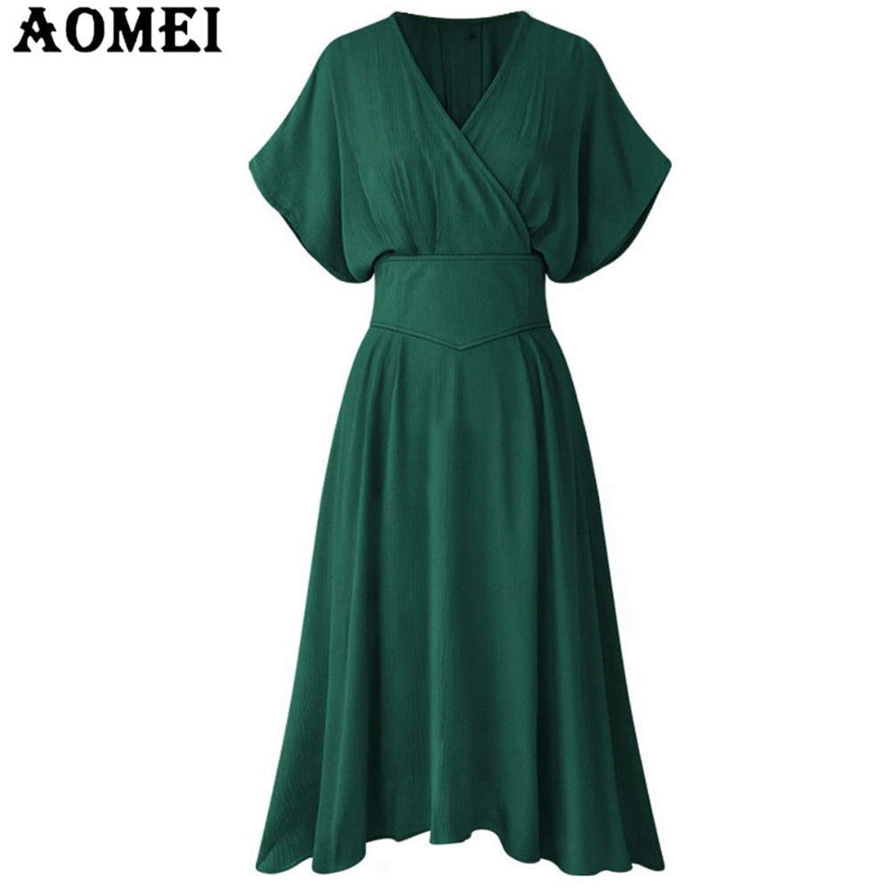 5ae5bbffea Women Short Sleeve Sexy V Neck Dress Tunics High Waist Solid Color Pleated  2019 Fashion Elegant