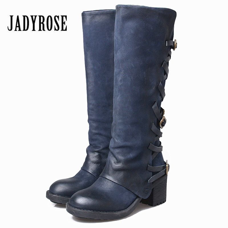Jady Rose Handmade Women Knee High Boots Straps Genuine Leather Female Long Boots Chunky Heel Platform Rubble Martin Boots jady rose vintage brown women genuine leather mid calf boot chunky high heel platform boots straps buckle decor martin botas
