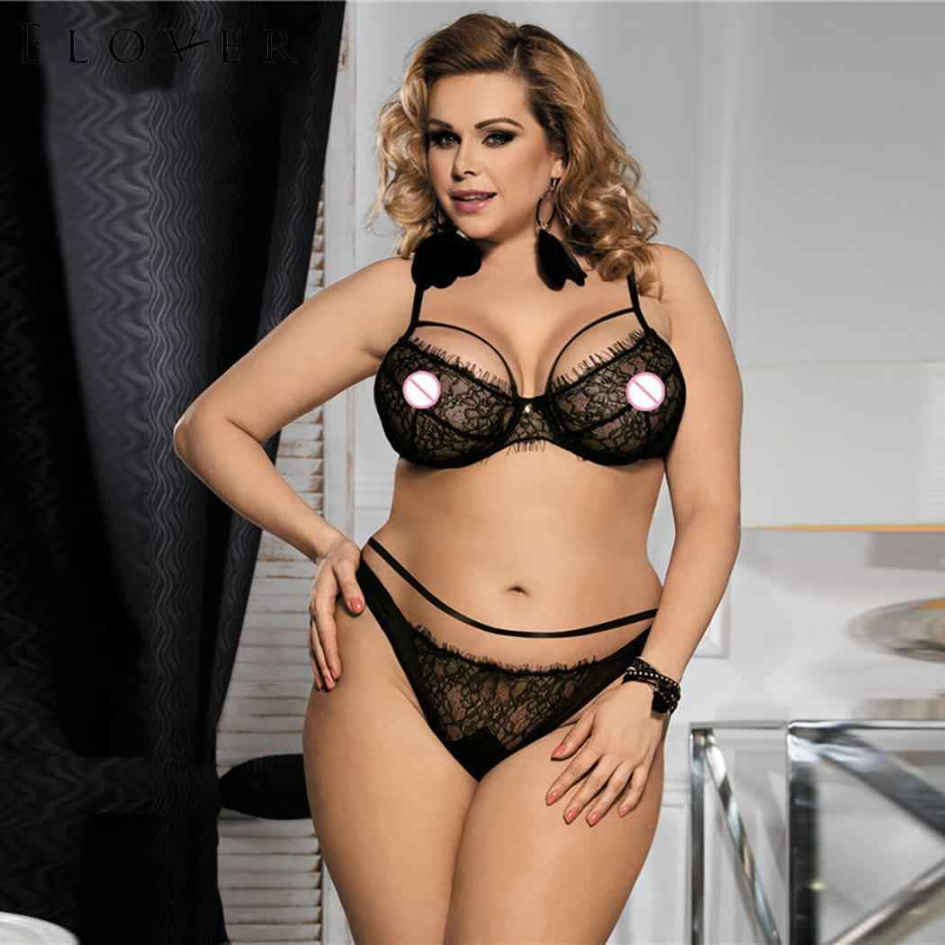 43e65174b36 Elover Sexy Babydoll Lingerie Set Erotic Women Black Lace Plus Size Costume  Sleepwear Transparent Hollow-