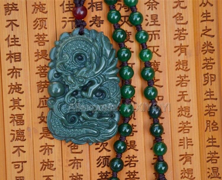 Belle Travail Manuel Naturel Foncé Vert HeTian Jade Sculpté Dragon Chanceux Amulette Pendentif + Collier Libre Certificat Fine Bijoux