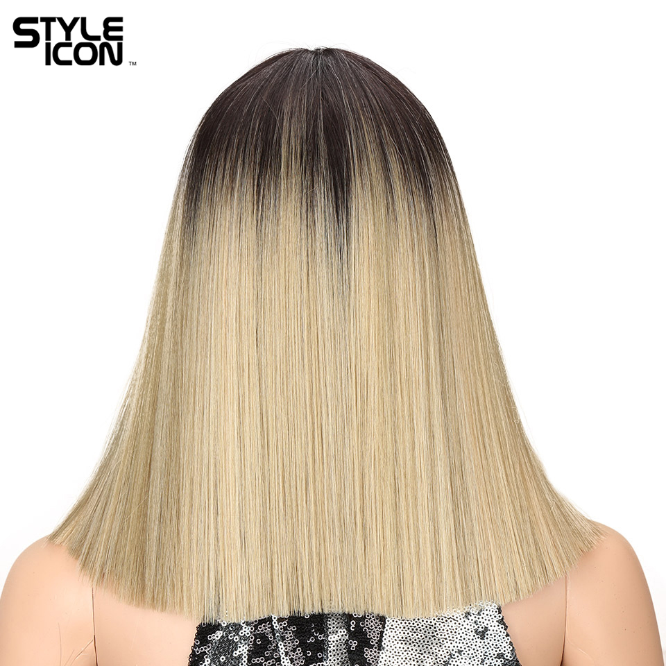 Styleicon Womens Synthetic Hair Wigs For Black Women Blonde Wig Short Straight Hair Wig Heat Resistant 12 Inch 5 Color