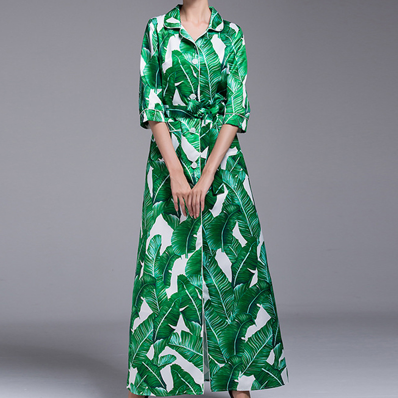 High quality spring Women Maxi Dress  Sleeve Plantain leaves Print Casual