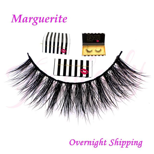 Frete grátis Marguerite em estoque moda estilo handmade superior 100% real mink faixa cílios 3d vison cílios