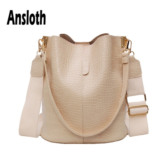 Ansloth Patchwork Shoulder Bag Women Crocodile Design Bucket Bag Ladies PU Leather Crossbody Bag Female Solid Color Bag HPS586
