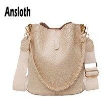 Ansloth sac à bandoulière Patchwork Crocodile Design, sac seau en cuir PU, sac féminin de couleur unie, HPS586