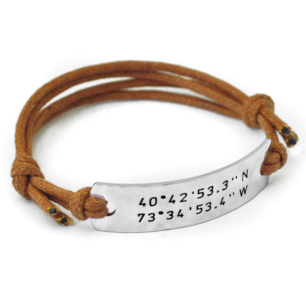silver personalised leather sally product bracelet coordinate clay and