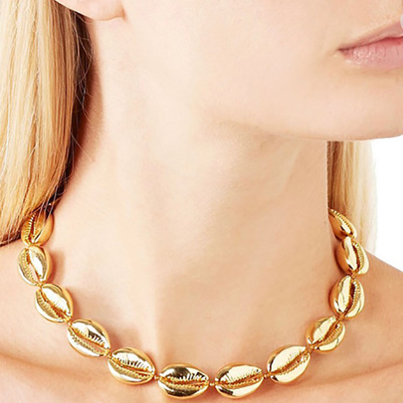 Popular Creative Accessories Metal Alloy Shell Necklace Woven Personality Wild Handmade Women's Short Necklace Gift-XL225