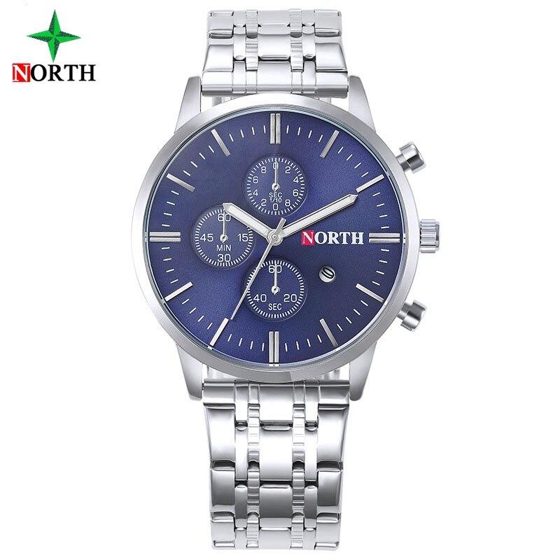 Luxury Brand North Casual Men Watches Silver Blue Stainless Steel Waterproof 2017 Business Fashion Man Quartz Wristwatch Sport