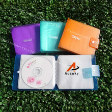 A Ausuky New Pinkycolor Portable 12 Disc Capacity DVD CD Case for Plastic Button  Car Media Storage CD Bag -30